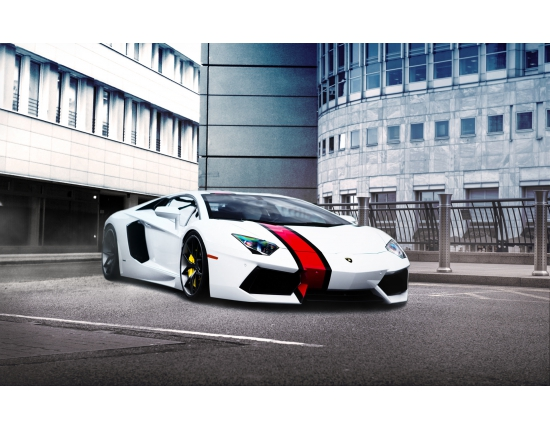 Photo lamborghini blanc 2